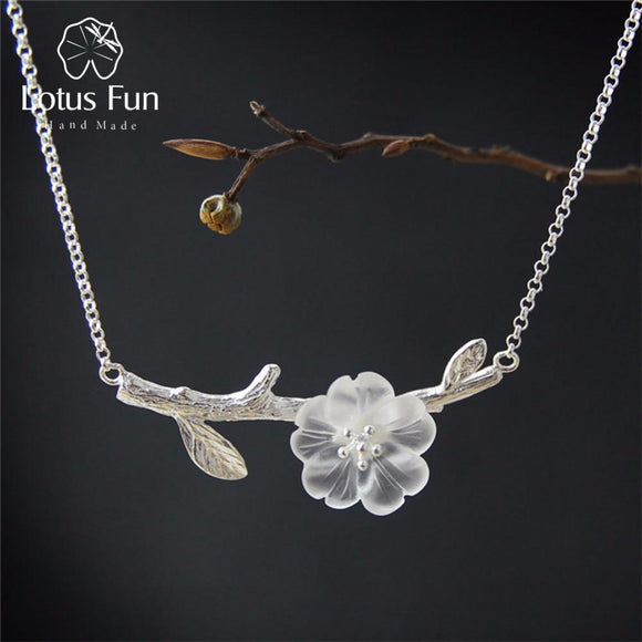 Lotus Fun Genuine 925 Sterling Silver Handmade Designer Fine Jewelry Flower in the Rain Necklace with Pendant for Women Collier