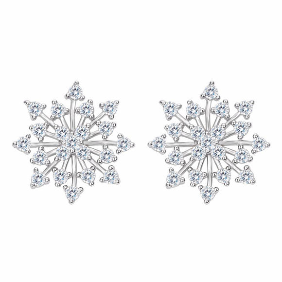 Bella Fashion 925 Sterling Silver Snowflake Bridal Earrings Austrian Crystal Earrings Wedding Bridesmaid Accessory Party Jewelry