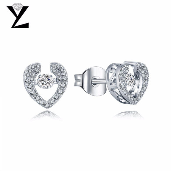 YL Heart 925 Sterling Silver Stud Earrings Fine Jewelry with Natural Topaz Stone for Women Wedding Engagement Earrings
