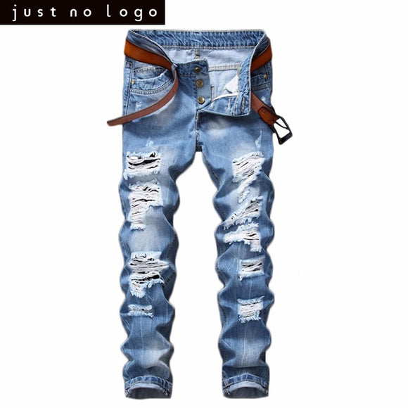 Mens Light Blue Skinny Ripped Jeans Straight Destroyed Holes Denim Pants for Men Party Streetwear Fashion Casual