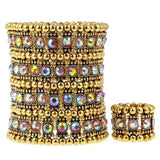 Multilayer stretch cuff bracelet ring sets wedding bridal crystal jewelry women her wife mom girlfriend gifts B12 ping