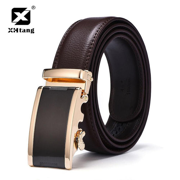 XHTANG Brown Leather Belt Men Luxury Gold Automatic Buckle Ratchet Leather Strap Fashion Casual 3.5cm Wide Waistband for Jeans