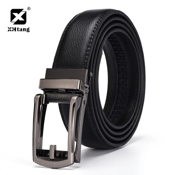 XHTANG Leather Mans Belt Ratchet Casual Dress Strap New Design Duckbill Buckle Fashion Belts for Jeans High Quality Male Gift