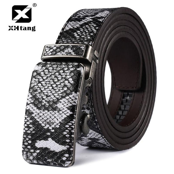 XHTANG Fashion Leather Belt Men Automatic Buckle Snake Skin Print Leather Waist Belts for Jeans Gift Hot Punk Style Large Size