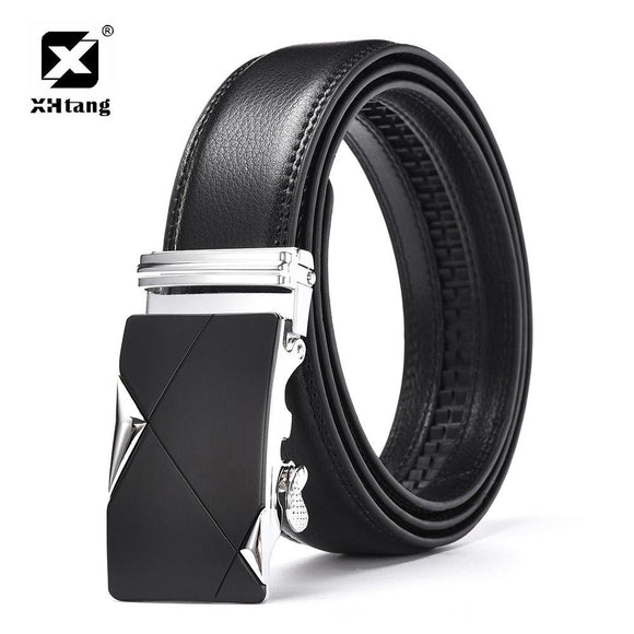 XHTANG Luxury Mans Leather Belt Men Fashion Automatic buckle Waistban 2017 Elegant Business Gift Ratchet Leather Belts for Jeans