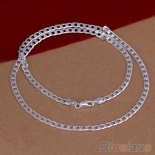 Women's Men's Silver Plated 4MM Cute Pendant Necklace Chain Fashion Jewelry 4PMP