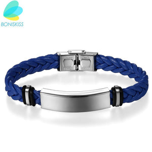 Boniskiss Brand New Fashion Weave Leather Bracelet Stainless Steel Wristband Bracelet for Women Men Jewelry Pulseira Masculina