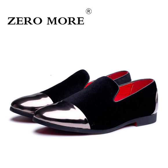 ZERO MORE Leather Men Casual Shoes Fashion Flock Comfortable Breathable Wedding Party Men Shoes 2017 Fall Men Loafers #ZM117