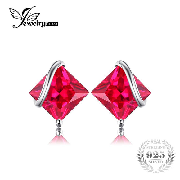 JewelryPalace Classic Square 2.8ct Created Red Ruby Stud Earrings Charm 925 Sterling Silver Brand Wedding Fine Jewelry For Women