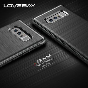 Lovebay Luxury Carbon Fiber For Samsung Galaxy S8 Plus Note 8 Phone Case Laser Brushed TPU Shockproof For Samsung S8 Cover Shell