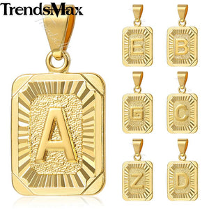 Trendsmax Womens Mens Pendant Necklace Initital Capital Letter Charm Silver Gold Filled Chain Fashion Jewelry GP36