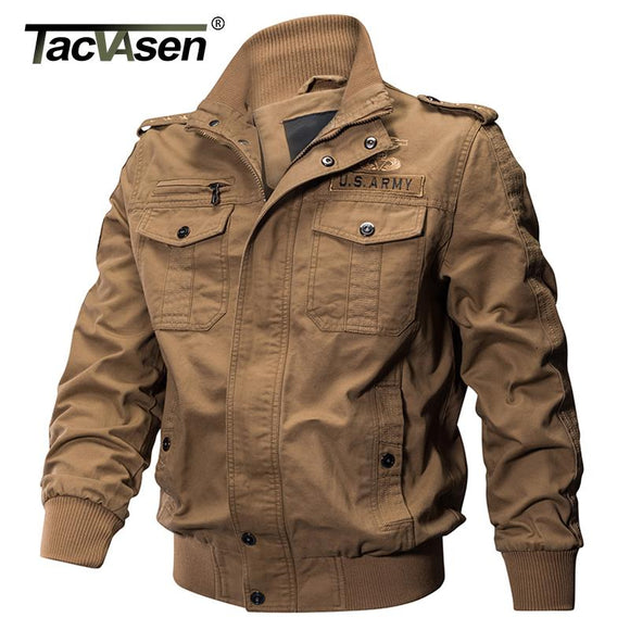 TACVASEN Men Military Jacket Autumn Winter Cotton Slim Jacket Coat Army Pilot Jacket Men's Air Force Tactical Jacket TD-QZQQ-008