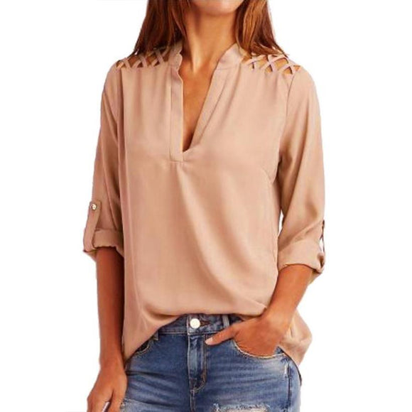 Women Chiffon Blouse Tab-Sleeve Hollow Out Bandage Blouse Shirt Solid Half Sleeve Office Lady Blusas Femininas Camisas Mujer *20