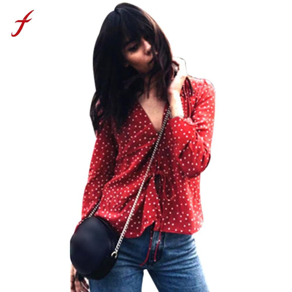 Womens Top Long Sleeve V-neck Star Print Loose Cotton T Shirt Star Printed t-shirt women tumblr top casual t-shirt tops