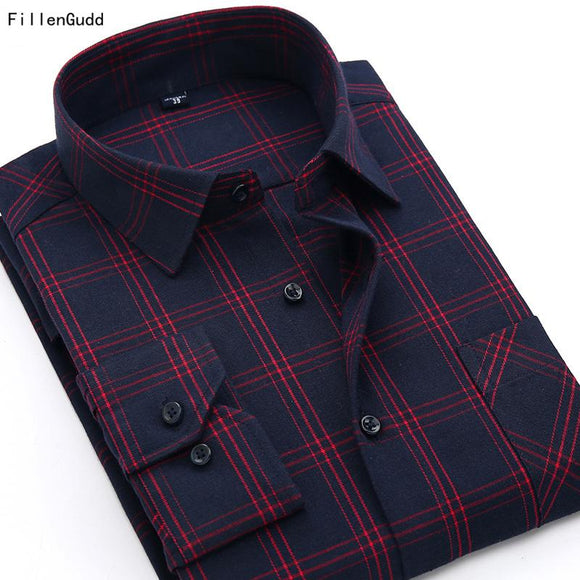 FillenGudd Autumn New British Sanding Long Sleeve Men Plaid shirts Quality Casual red checked shirt Men's China Imported Clothes