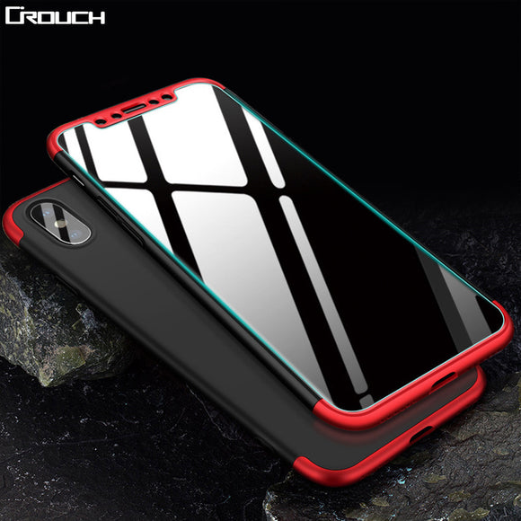 Crouch Mobil Phone Case For iphone X Hard PC with Glass 360 Full Protector Back Phone Cases Cover For iPhoneX Case Coque Fandas