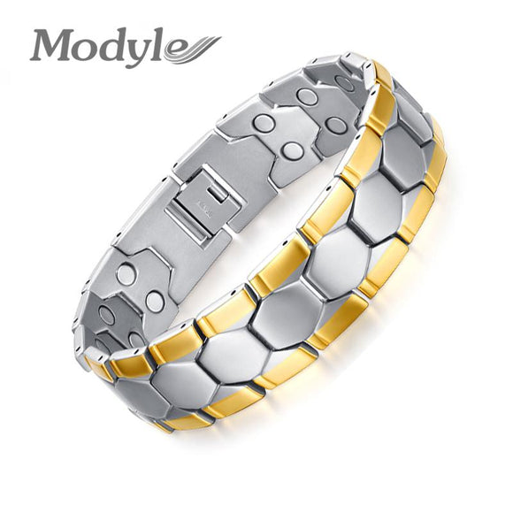 Modyle Gold-Color Men Bracelet Jewelry Energy Health Magnetic Bracelets for Man Charm Balance Bracelets