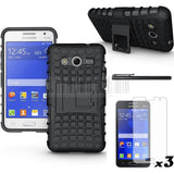 3in1 Hard Silicone Armor Cover ShockProof Anti-knock Combo Case+Stylus+Film For Samsung Galaxy Core 2 G355H