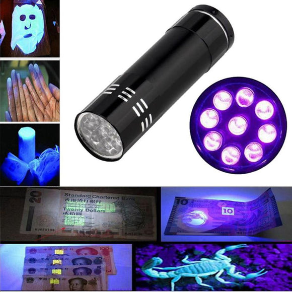 Ultraviolet 9 LED Flashlight Black Purple light Torch Light Lamp Black AAA Mini Protable Aluminum UV New Year's product Unique