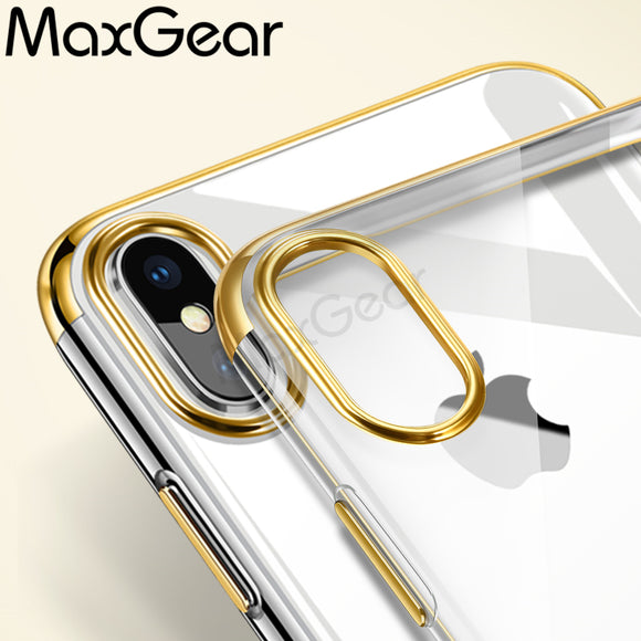 MaxGear Luxury Plating Case For iPhone X Capinhas Ultra Thin Electroplating Soft Back Cover Case For iPhoneX Capa Shell Coque