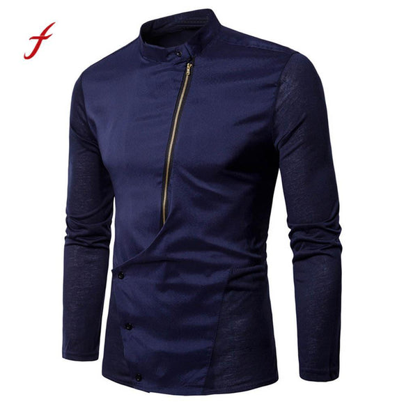 Men's Long Sleeve Personality Zipper Solid Pullover Sweatshirt Top Tee Blouse shirt men camisa social masculina para hombre