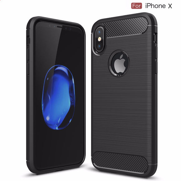 Luxury Shockproof Armor Carbon Fiber Cover for iPhone X Case TPU Silicone Coque Capa Funda Thin Case for iPhone X Cover Original
