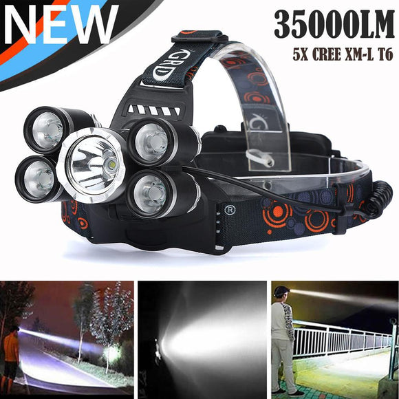 MUQGEW High-end product 35000 LM 5X CREE XM-L T6 LED Rechargeable Headlamp Headlight Travel Head Torch Super Bright 2017 Newest