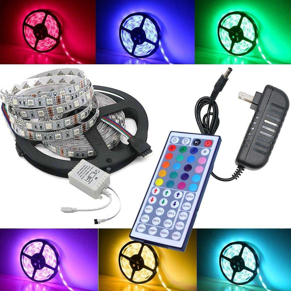 Waterproof LED RGB strip light SMD 5050 Light +remote control+ DC 12V Power Adapter RGB Fita LED Light Ribbon Lamp led strip set