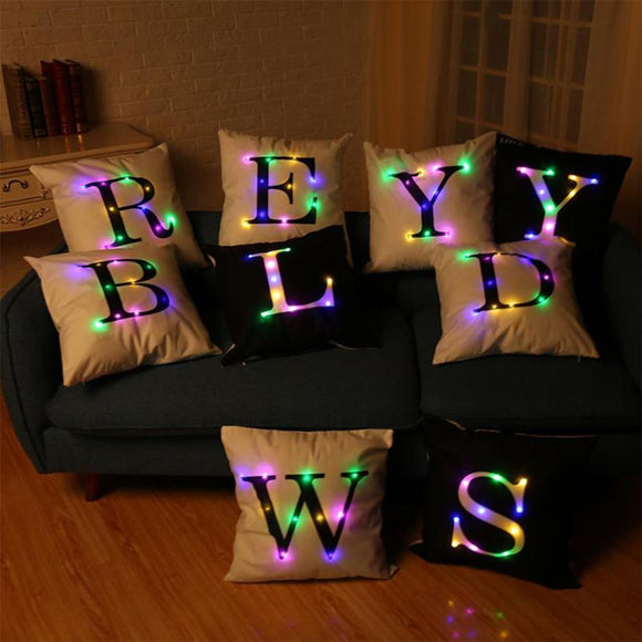 MUQGEW Alphabet Lighting LED Cushion Cover Home Decor Throw Pillowcase Sofa Flashing 27 Letters Pillow Lighting