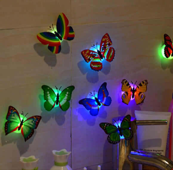 10 PZ 3D Wall Stickers Realistic Powered Butterfly LED Wall Stickers 3D Home Decor Battery Included LR41 Battery Gift Home Decor