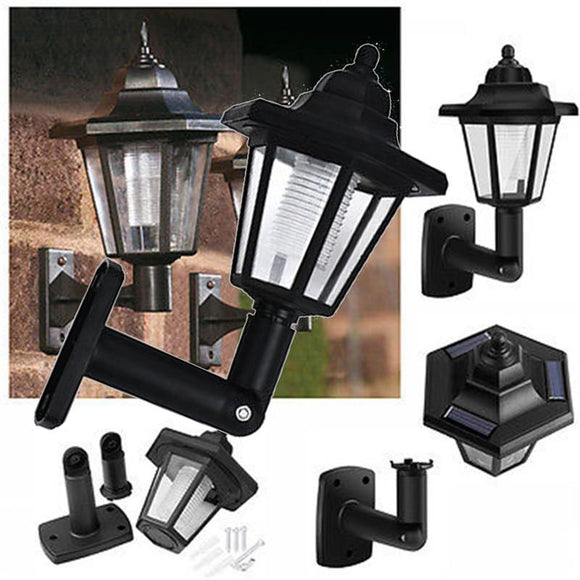 MUQGEW High Quality Hot LED Solar Powered Wall Lanterns Wall Light Lamp Outdoor Garden Fence Door Promotion