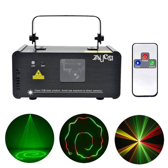 AUCD IR Remote 200mW RGY Laser Stage Lighting 8 CH DMX 512 PRO Scanner DJ Party KTV Show Projector Equipment Light DM-RGY200