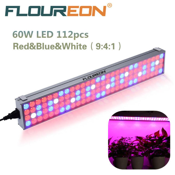 60W 112pcs LED Full Spectrum Grow Light AC85-265V Indoor Plant Lamp for Plants Vegs Hydroponic System Grow/Bloom Flowering