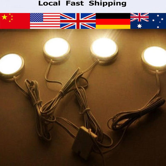 1Set New Home Kitchen Led Lighting LED Under Cabinet Puck lights Bedroom Lighting with 4 Lamp Bulbs 110V Warm white/White