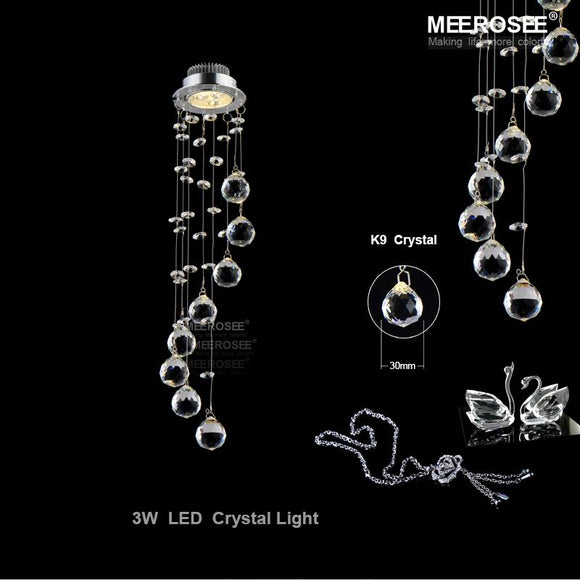 Small LED Crystal Ceiling Light Fixture Crystal lustre Lamp Spiral Crystal Light for Aisle Hallway Porch Staircase Lighting