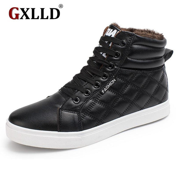 2017 New Winter Casual Men Shoes Lace-up Breathable Flat With High Top Warm Plus Velvet Leather Shoes free shipping
