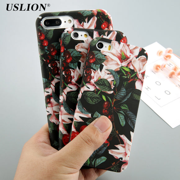 USLION Classical Cherry Floral Phone Cases For iPhone X 5 5S SE 8 7 6 6s Plus Flower Leaves Case Hard PC Full Back Cover Capa