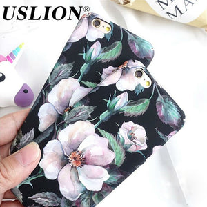 Retro Floral Phone Case For iPhone 7 8 Plus Camellia Flower Hard Phone Case Back Cover Capa Coque For iPhone X 6 6s Plus 5 5S SE