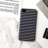 Zebra Stripe Case For iPhone X 8 7 7Plus Black White Painted Hard Protect Capa Coque Phone Case For iPhone 5S 6 6S Plus 6SPlus