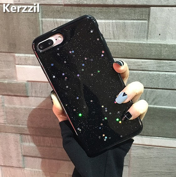 Kerzzil Bling Glitter Soft Silicone Case For iPhone 7 6 6S Plus Star Cover Shining Phone Back For iPhone X 6 6S 8 Plus Capa