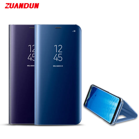 ZUANDUN Mirror Smart Clear View Flip Case For Samsung Galaxy Note 8 S8 S7 Edge A3 A5 A7 2017 Stand Leather Phone Case Cover