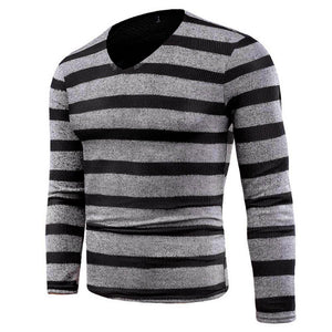 FEITONG Men's Sweater Fashion Kintted Striped Shirt Slim Jumper Knitwear Outwear Blusa Tops Autumn Winter V-Neck Pullover Male