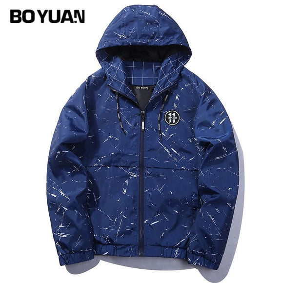 BOYUAN Jacket Coat Mens Spring Jackets Jaqueta Masculino Causal Print Camouflage Jacket Men Hooded Loose Autumn Outerwear J74