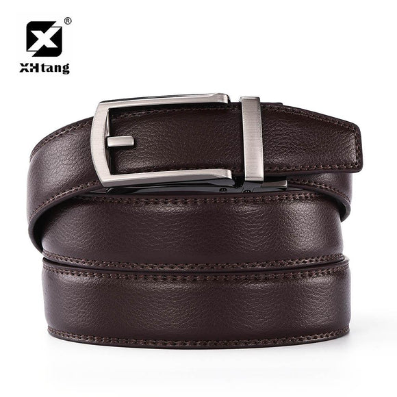 XHTANG Brown Leather Mans Belt Ratchet Hot Dress Strap Duckbill Buckle Fashion Belts for Jeans High Quality Elegant Male Gift