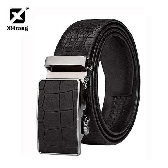 XHtang Men's Ratchet Leather Belt for Jeans Fashion Stone Grain Automatic Buckle Belt High Quality Brand Genuine Leather Strap