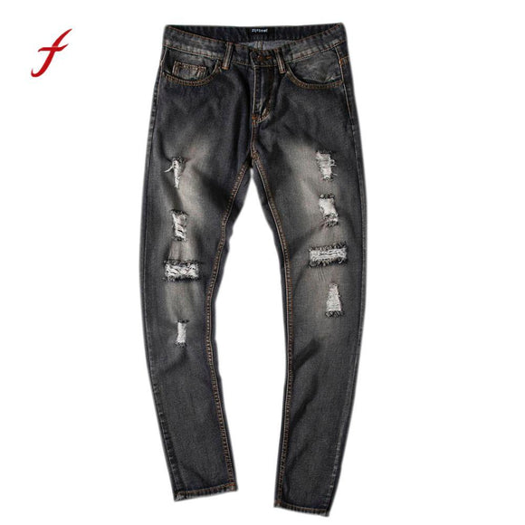 slim straight jeans men warm casual Men's Slim Fit Straight Denim Vintage Style With Broken Holes Jeans Pants pantalon homme