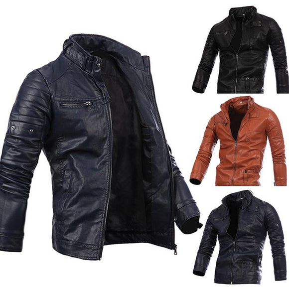 Men Leather Jacket Autumn&Winter Biker Motorcycle Zipper Outwear Warm Coat
