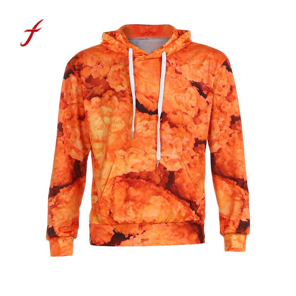 Autumn 3D hoodie Fried Chicken Hoodie Graphic Hoodies Unisex Pullover sportwear Sweatshirt Outwear Pullover Tops Yellow Casual