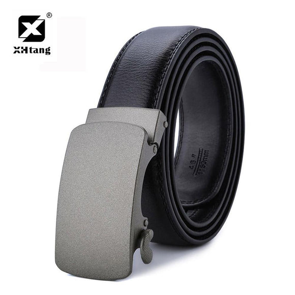 XHTANG Men's Genuine Leather Ratchet Belt 2017 Brand Automatic Buckle Belt 3.5cm Black Strap Elegant Belt for Jeans Top Grade