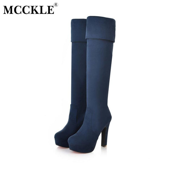 MCCKLE 2017 New Women Boots Sexy Fashion Over the Knee Boots Thin Square Heel Black Boot Platform Female Shoes Black Size 34-43
